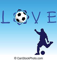 blu, amore, football, illustrazione, vettore, icona