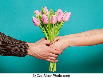 blu, amore, mazzolino, tulips, coppia, fondo., presa a terra