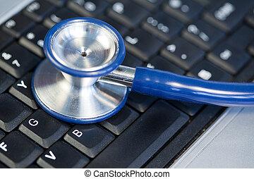 blu, angolato, stetoscopio, tastiera