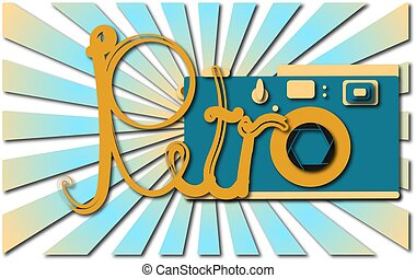 blu, anticaglia, parola, illustration., macchina fotografica, contro, vecchio, anticaglia, vettore, retro, uggia, retro, hipster, rays.