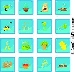 blu, app, attrezzi, giardiniere, icona
