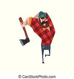 blu, appartamento, barbuto, plaid, lumberjack., colorito, carattere, worker., jeans, tagliaboschi, vettore, disegno, foresta, oscillazione, hat., uomo, forte, ax., cartone animato, camicia rossa