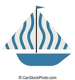 blu, appartamento, barca, illustrazione