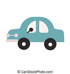 blu, appartamento, bianco, illustrazione, automobile
