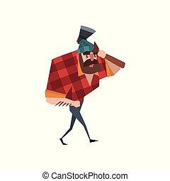 blu, appartamento, camminare, checkered, carattere, camicia, ascia, jeans, barbuto, mano, tasca, vettore, disegno, uomo, hat., forte, taglialegna, cartone animato, rosso, shoulder.