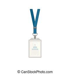 blu, appartamento, collo, verticale, supporto, plastica, vettore, disegno, sagoma, identificazione, cinghia, distintivo, scheda id