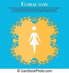 blu, appartamento, donna, umano, astratto, text., simbolo., fondo, segno, vettore, disegno, femmina, floreale, posto, icon., toilet., tuo, donne