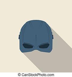 blu, appartamento, eroe, maschera, colour., illustrazione, vettore, super, design.
