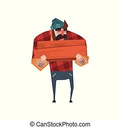 blu, appartamento, legna ardere, hands., camicia tagliaboschi, character., jeans, vettore, allegro, plaid, disegno, foresta, presa a terra, worker., tagliaboschi, forte, cappello, pila, rosso, barba