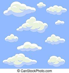 blu, appartamento, nubi, set., cielo, isolato, cartone animato, vettore, lanuginoso, style.