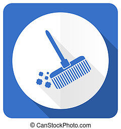 blu, appartamento, scopa, segno, pulito, icona