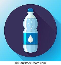 blu, appartamento, stile, bottiglia, illustrazione, acqua, vettore, fondo, icona