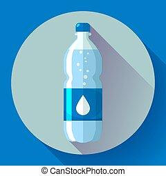 blu, appartamento, stile, illustration., bottiglia, acqua, vettore, fondo, icona