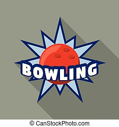 blu, appartamento, stile, stella, bowling, logotipo
