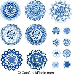 blu, arabeschi, isolato, collezione, fondo, monocromatico