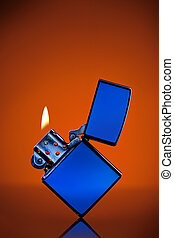 blu, arancia, fiamma, accendino, fondo