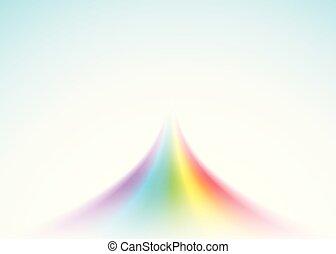 blu, arcobaleno, realistico, luce, isolato, pioggia, fondo.,...