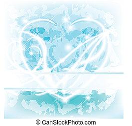 blu, ardendo, delicato, cuore, con, testo, spazio