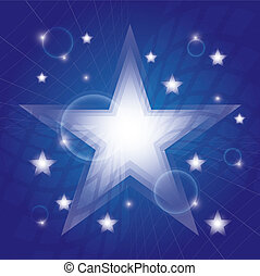 blu, ardendo, stelle, fondo
