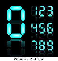 blu, ardendo, vettore, numeri, digitale