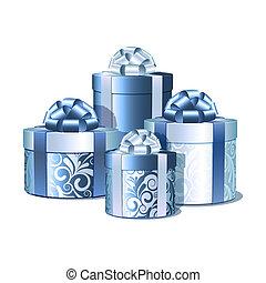 blu, argento, regalo, boxes.