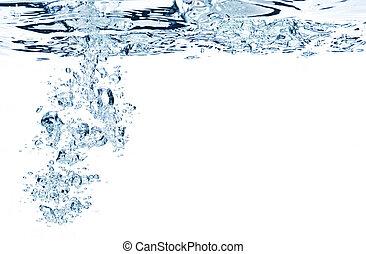 blu, aria, bolle, in, acqua