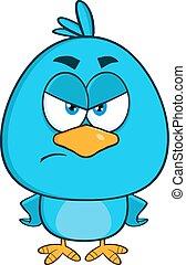 blu, arrabbiato, carattere, uccello, cartone animato