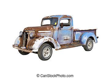 blu, arrugginito, camion