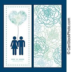 blu, arte, modello, coppia, augurio, silhouette, vettore, sagoma, invito, linea amore, fiori, cornice, scheda
