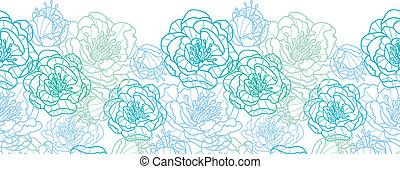 blu, arte, modello, seamless, fondo, linea, fiori, bordo, orizzontale