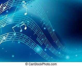 blu, astratto, fondo, con, musica