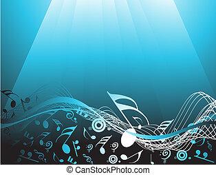 blu, astratto, fondo, con, note musica