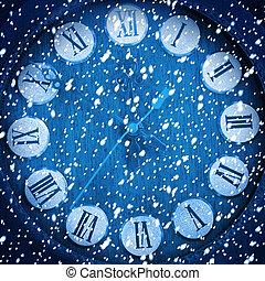 blu, astratto, innevato, fondo, orologio
