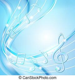 blu, astratto, note, musica, fondo.