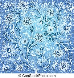 blu, astratto, ornamento, fondo, floreale, fesso