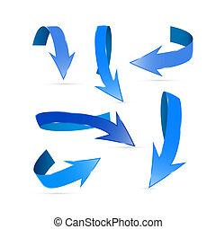 blu, astratto, set, frecce