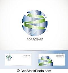blu, astratto, sfera, verde, logotipo, corporativo