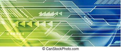 blu, astratto, sfondo verde, tecnologia digitale