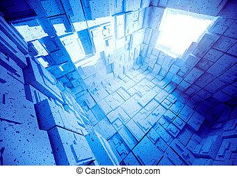blu, astratto, stanza, vuoto, interior.