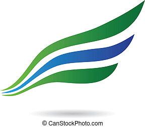 blu, astratto, uccello, ala verde, icona