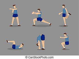 blu, atleta, stiramento, su, sport, maschio, warming