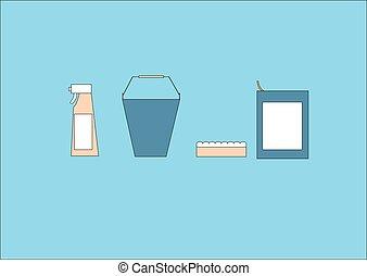 blu, attrezzo, set, pulizia, fondo