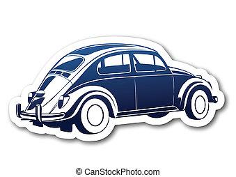 blu, auto, carta, vecchio, dolce
