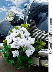blu, automobile, matrimonio