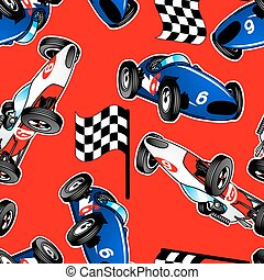 blu, automobili, seamless, modello, bianco, da corsa, rosso