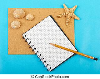 blu, b, starfish, isolato, penna, quaderno, seashells
