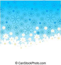blu, backgrou, silhouette, margherite