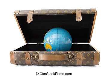 blu, bagaglio, Terra