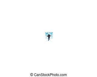 blu, bagliore, lente, schermitore, fondo