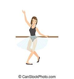 blu, balletto, ballo, esercitarsi, polo, ragazza, gonna, classe